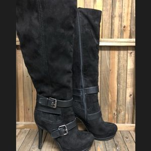 Guess Shoes - Guess knee high suede stiletto black boots 8M